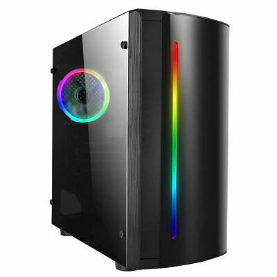 CIT Beam Rainbow RGB Gaming Micro ATX PC Case LED Fan Acrylic Glass Window MATX • 31.30£