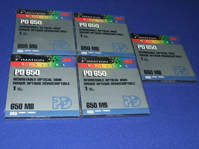 5 X Imation PD650 Rewritable Optical Disk 650MB New & Sealed • 23£