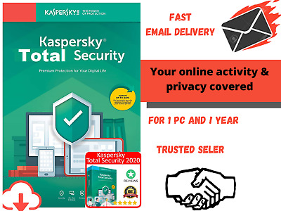 KASPERSKY TOTAL SECURITY 2020 1 Device 1YEAR Sub  Fast Delivery   • 5.89£