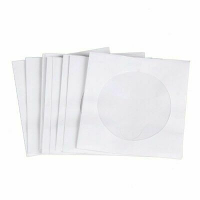 100 Paper CD DVD Disc Sleeves Envelopes Storage Clear Window Bags Flap Case • 3.27£