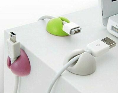 5pcs Cable Tidy Clips Organiser Desk USB CHARGER CABLES Holder Wire Drop Lead UK • 3.75£