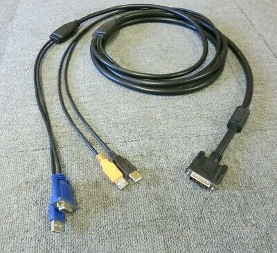 KVM Switch Cable 3M Black D-Sub DB15 Male To VGA Female And 3 X USB • 24£