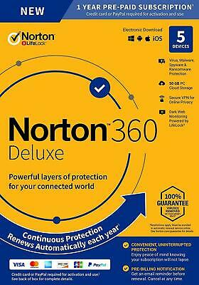 Norton 360 Deluxe 2021 5 Devices 5 PC 1 Year Secure VPN Internet Security 2020 • 14.45£