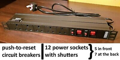 Innox RPD 19 Inch 12 Ways Power Strip With Circuit Breaker Extension Horizontal • 14.99£