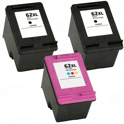 Refilled HP 62 / 62XL Black 62 XL Tri-Colour Ink Cartridges For Envy 5540  • 21.99£