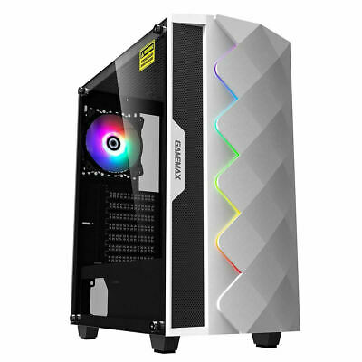 Game Max White Diamond ARGB Mid ATX Gaming PC Case Tempered Glass LED Fan • 54.99£