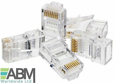RJ45 Connector For Cat5e Cat6 Ethernet Patch Cable Lead End Plug Gold Wholesale • 1.95£