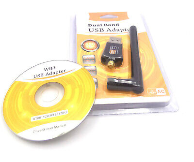 600mbps Dual Band Usb Wifi Dongle 2.4 5 Ghz With Antenna 802.11ac For PC LAPTOP • 6.33£