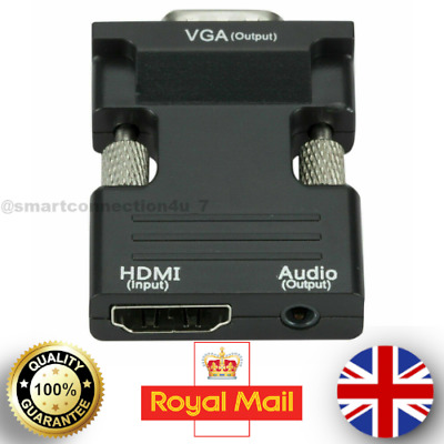 1080P HDMI Female To VGA Male With Audio Output Cable Converter Adapter Lead UK • 4.99£