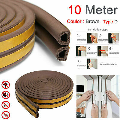 Draught Draft Excluder Self Adhesive Rubber Door Window Seal Strip Roll Tape 10M • 3.85£
