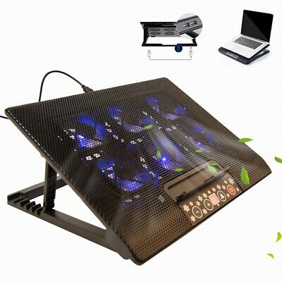 6 Fans Laptop Cooler Mat Tilt Stand For 12 -17  Cooling Pad USB Power 3 Speeds • 13.99£