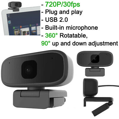 HD 720P Webcam Rotatable Web Cam Camera For Computer PC Laptop Video Microphone • 14.90£