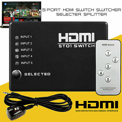 5 Port 1080P HDMI Switch Selector Switcher Splitter Hub+Remote For PS3 HDTV • 6.69£