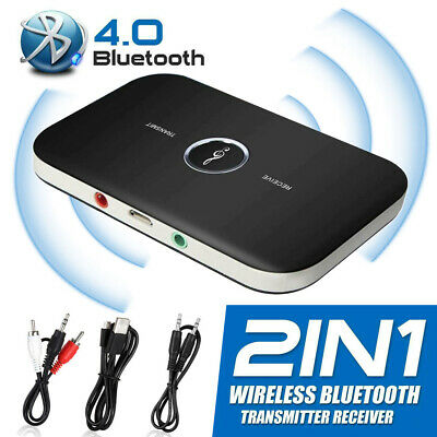 3.5mm Aux Adapter Bluetooth Transmitter Receiver Wireless Audio Music RCA 2 In 1 • 7.99£
