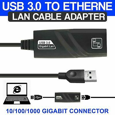 USB 3.0 To LAN ETHERNET Internet Cable Adapter 10/100/1000 Gigabit Connector • 6.49£