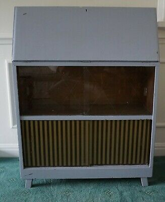 60's Vintage Writing Bureau Desk With Glass Doors Painted Blue Grey Shabby Chic • 10£