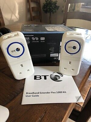 BT Broadband Extender Flex 1000 Kit Powerline Adapter Twin Pack • 10.40£