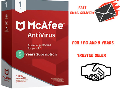 McAfee Antivirus 2020 - 1 Device 5 Year Subscription  Fast Email Delivery,  • 5.99£