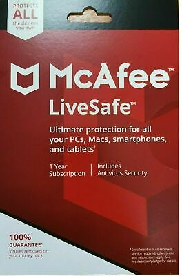 McAfee LiveSafe,2020 1 User - Unlimited Multi-Devices, 1 Year DOWNLOAD VERSION • 12.49£