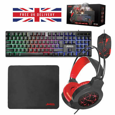 JEDEL Rainbow LED USB Gaming Keyboard&Mouse And Headset Set Bundle For PC Laptop • 28.60£