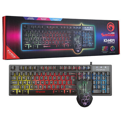 Marvo Scorpion Gaming Keyboard And Mouse Set LED USB For PC Laptop PS4 Xbox One • 19.05£