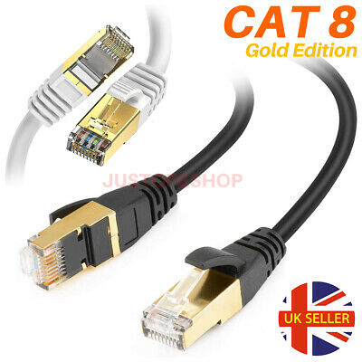 CAT8 RJ45 Network Ethernet SSTP 40Gbps Gigabit Ultra Speed - Patch LAN Cable UK • 9.95£
