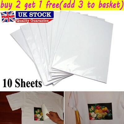 10pcs A4 Heat Transfer Paper For DIY Light & Dark Fabric Cloth T-shirt UK • 2.79£