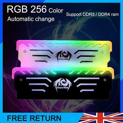RAM Cooler Cooling Vest Heat Sink 256 RGB Light Aluminum PC Memory Cooling Vest • 10.80£