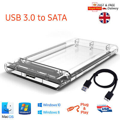 USB 3.0 To SATA Hard Drive Enclosure Caddy External Case For 2.5  Inch HDD SSD • 5.89£