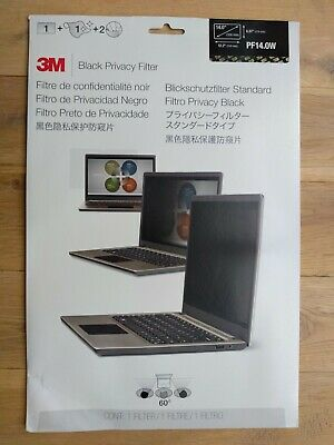 NEW & Sealed! 3M PF14.0W Black Privacy Filter 310mm X 174mm (14.0 ) • 24.99£
