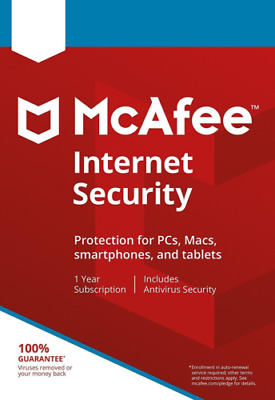 McAfee Internet Security 2020 Anti Virus Software 1 Year 3 Users Emailed Key • 4.65£