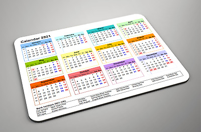2021 Calendar Mousemat 52 Week With Special Dates - Great For Office Or Home • 5.99£