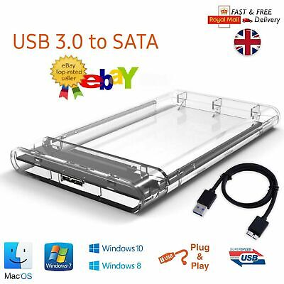 USB 3.0 To SATA Hard Drive Enclosure Caddy External Case For 2.5  Inch HDD SSD • 5.99£