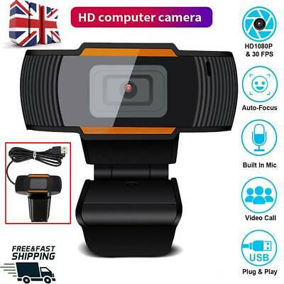Full Webcam With Microphone MIC USB For PC Desktop Laptop UK Stock NEW • 9.95£