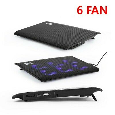 Laptop Cooler Mat Stand Pad Tilt For 10 -17  Inch Cooling Pad 6 Fans UK • 11.99£