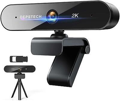 Depstech Upgraded 2K Webcam With Dual Microphone, QHD USB Web Camera • 33.72£
