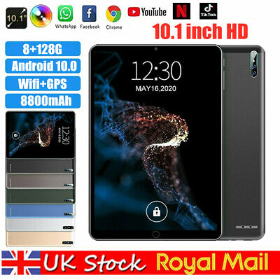 10.1  Inch Tablet PC HD Android 10.0 8+128GB WIFI Three Camera GPS Bluetooth • 95.99£