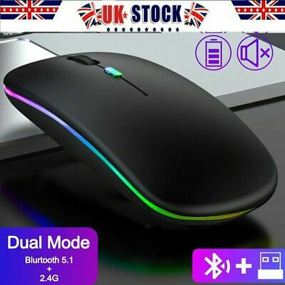 Slim Wireless Mouse RGB Silent USB Rechargeable Mice Bluetooth For PC Laptop UK • 8.99£