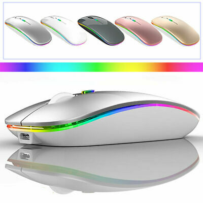 Slim Rechargeable Bluetooth/USB Wireless RGB LED Mouse For Tablet PC Andoid IPad • 8.99£