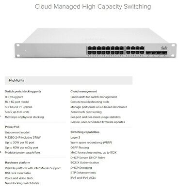⭐CISCO MERAKI MS350-24X Cloud Switch 8x MGig 16x 1G 4x 10G SFP+ 1x PSU UNCLAIMED • 1,100£