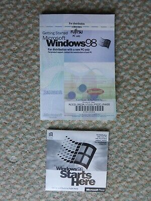 Microsoft Windows 98 Guide Book + Certificate Of Authenticity + Product Key + CD • 3.20£