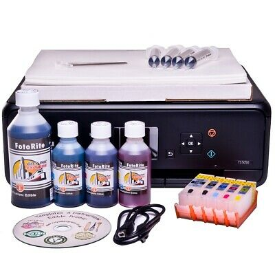 Edible Starter Kit: Printer, Refill Cartridges, Ink, 50 Wafer+25 Decor Paper • 154.99£