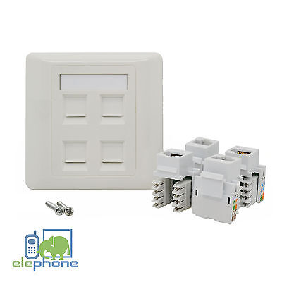 4 Port CAT6 RJ45 Network Faceplate Face Plate Single Gang Wall Socket • 4.95£