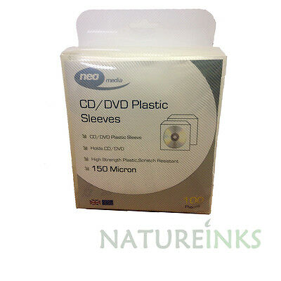 100 High Quality 150 Micron Clear Plastic CD DVD THICK Sleeves Side STITCH • 6.14£