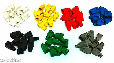 PACK OF 70 MIXED COLOUR RJ45 SNAGLESS NETWORK CABLE PLUG HOODS BOOTS CAT5e CAT6 • 4.49£
