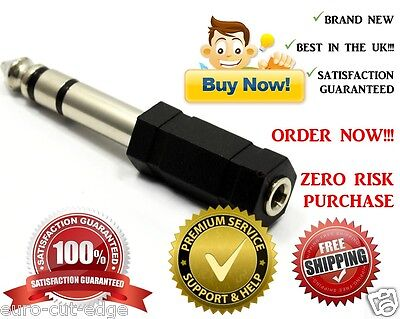 3.5mm Stereo Socket To 6.3mm 6.35mm 1/4 Jack Headphone Adapter C • 1.55£