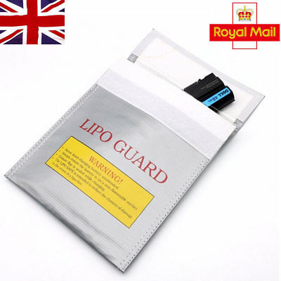 RC LiPo Battery Safety Bag Safe Guard Charge Fireproof Sack 30*23cm Silver In UK • 4.77£