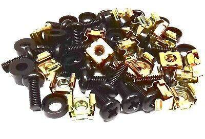 20 PACK BLACK M6 CAGE NUTS BOLTS WASHERS FOR 19  RACK MOUNT CABINETS 15mm THREAD • 2.99£