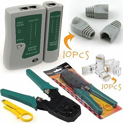 RJ45 RJ11 Cat5e Cat6 Network LAN Cable Tester Crimping Tool Connectors & Boots • 7.95£