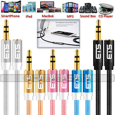®ETS 1M 3.5mm Jack Male To Female Extension AUX Audio Cable Mobile IPad MP3 Lead • 2.19£